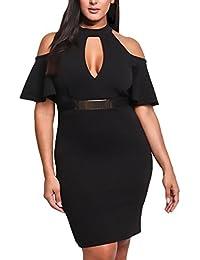 5e65ca0e19fb7 Abito Da Sera Donna Moda Elegante Al Ginocchio Vestito Da Cocktail Partito  Manica Abbigliamento Dresses Corta