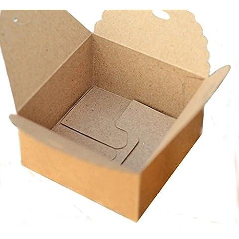 12pcs Kraft Marrón Cuadrada Caja De Cajas De Regalo De Papel De La Boda Del Partido De Bricolaje Artesanal