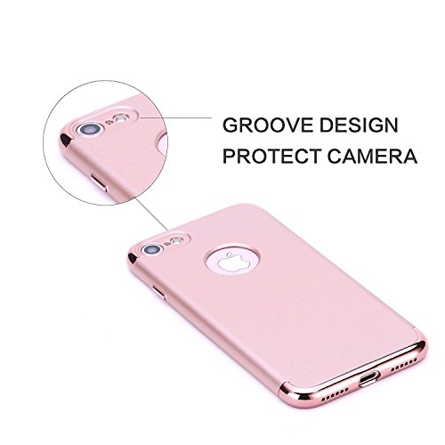 Hanlesi iPhone 7 Hülle, Anti-Scratch Shockproof Slim Fit with Electroplating Frame Soft Touch Matte Hard Protect Cover for iPhone 7 4.7-Black Rose gold