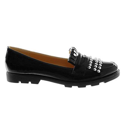 Angkorly Chaussure Mode Mocassin slip-on femme clouté frange verni Talon bloc 2 CM Noir