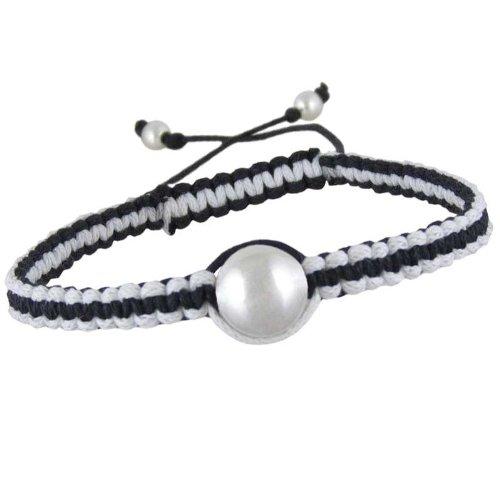 Braccialetto dell'amicizia, da donna, colore: nero con & morbido cotone, colore: bianco, Argento, colore: nero/argento/bianco, cod. 00000002094