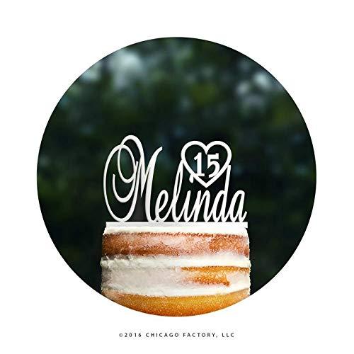 eburtstagskuchen, mit Vornamen, personalisierbar, Geburtstagskuchenaufsatz, Zahlenkuchenaufsatz, Geburtstagsparty-Dekoration, Sweet 16 (T091) ()