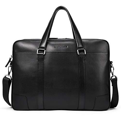 BOSTANTEN Herren Leder Aktentasche Umhängetasche 15 Zoll Laptoptasche Männer Businesstaschen mit 2 Reißverschlussfächer Schwarz L