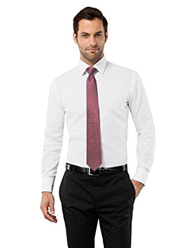 VB-Camicia da uomo Slim Fit, Ferro Uni White 42 cm