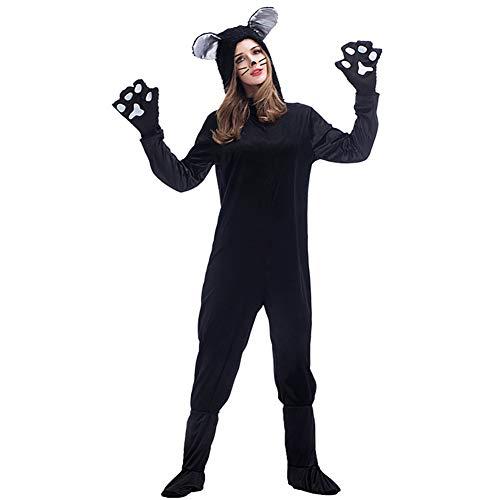 HFZY Schwarze Katze Liebhaber Schwarze Katze Onesies Eltern-Kind-Kostüm Tierspielkleid Paar tragen Jungen/Mädchen - Paar Kostüm Für Jungen Und Mädchen