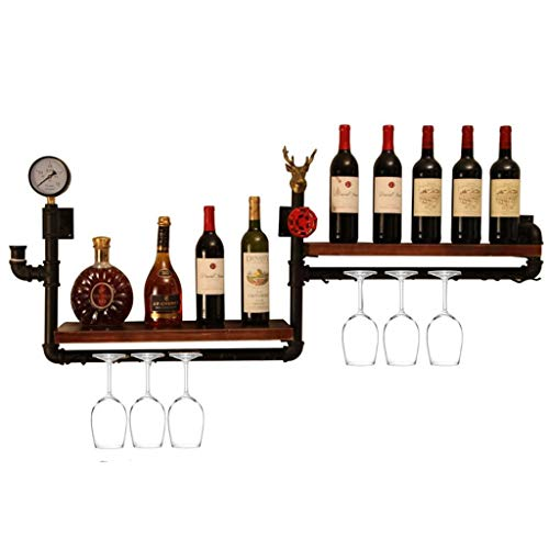 DUDDP Weinflaschenhalter Doppelschicht Wand Weinregale Metall Eisen Lagerregal in Bar Haushalt Holz Wand Hängen Wein Champagner Glas Becher Stemware Rack Weinflaschenhalter (Holz-wein-glas-wand Rack)
