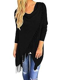 ABCone-Donna Pullover  S-3XL Felpa Cardigan Lavorato a Maglia con Girocollo  Nappa T-Shirt Maniche Lunghe Elegante Autunno Camicette Camicie… 5cfdabe9037