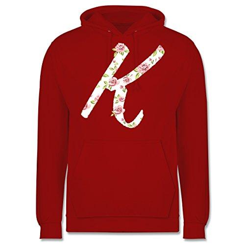 Anfangsbuchstaben - K Rosen - Männer Premium Kapuzenpullover / Hoodie Rot
