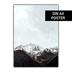 DIN A4 Poster: Berg Foto Plakat Alpen Winter, Skandinavisches Design Fotografie