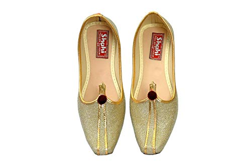 SHAHI PUNJABI FOOTWEAR Kids Indian Designer Golden Traditional Jutti Shoes Ethnic Mojari SPF-2010 (11C Ind/Age 4-5 Yr, Cream Golden)