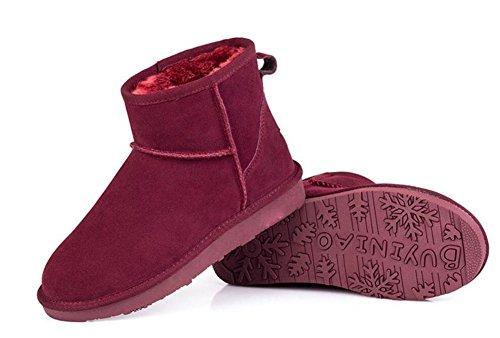 Wealsex Bottes Fourrées Doublée Chaleureux Botte De Neige Basse Classic Mode Uni Couleur Pur Plate Chaussure De Coton Chaussures d'hiver Grande Taille 39 40 Femme Rouge