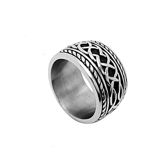 Men's Titanium Steel Rings Retro Punk Chain Hearts Black Width
