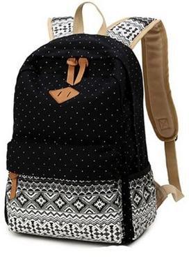 Imagen de icase4u® 2015 multi función moda  bolsa escolar tipo casual bonita de lona de viaje  de marcha para picnic para mujer o chica buena calidad polka dot negro  alternativa