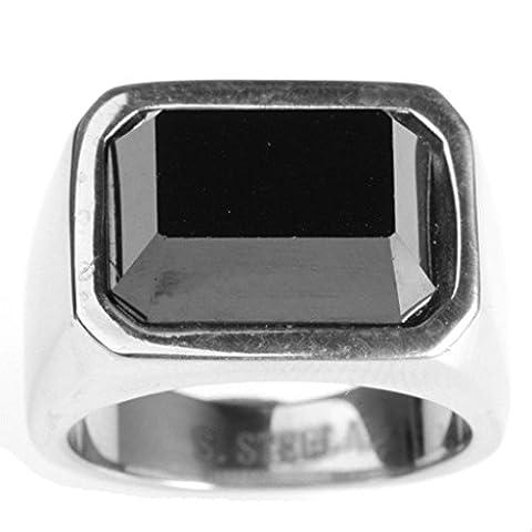 Epinki Jewelry Stainless Steel Vintage Punk Rock Men Silver Cubic Zirconia Square Ring 2CM Size Z