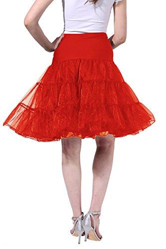 Poplarboy 50er Vintage Petticoat Reifrock Unterrock Wedding Bridal Petticoat Underskirt Crinoline für Rockabilly Kleid In Mehreren Farben Rot
