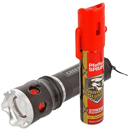 Sicherheits Set Police LED Taschenlampe und Protect Pfefferspray 40 ml