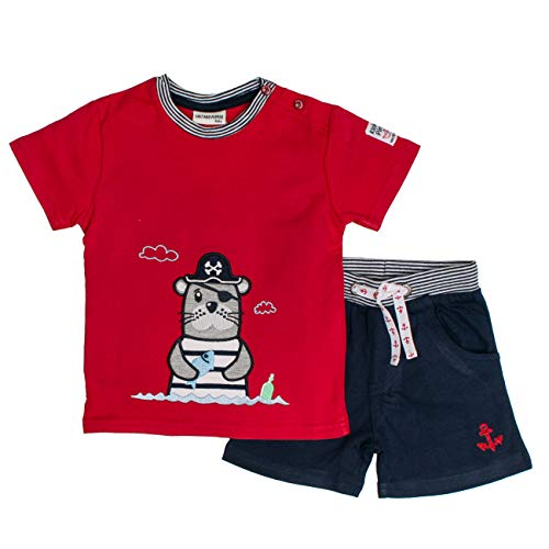 SALT AND PEPPER Baby-Jungen Set Piraten Robbe Uni Bekleidungsset, Mehrfarbig (Red Classic Blue 358-486), 68 (Piraten-baby)