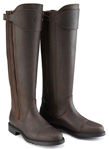 Caldene County Women' s Buck Paese di lunghezza, cerato Pelle, Pelle Scamosciata, Stivali con zip marrone