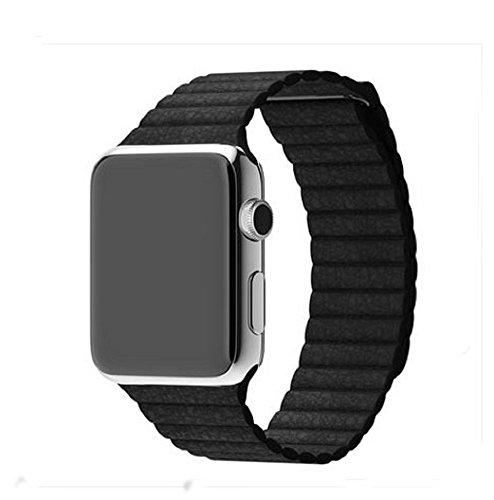AWStech Strap 42mm für Apple Watch, 42mm Armband für Apple Watch 2, Leder Magnet Lock Loop Ersatzband Uhrenarmband Sportuhr Wrist Band Replacement, Schwarz