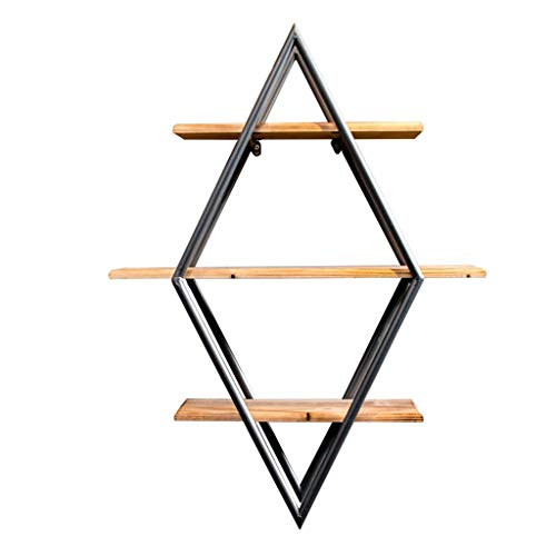 MTX Ltd 3 Tiers Bar Wandmontiertes Diamond Shelf Deckenregal Leiste für Ablage/Weinregal/Bücherregal/Hängende Dekorationen Rahmen , Retro-Stil , Schwarze Eisenhalterung und Woo -