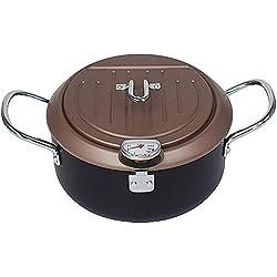 Miyaer Pot De Friteuse Tempura Fryer Antiadhésive Style Japonais Friteuse Profonde avec Couvercle Friteuse Domestique avec Thermomètre pour Cuisson