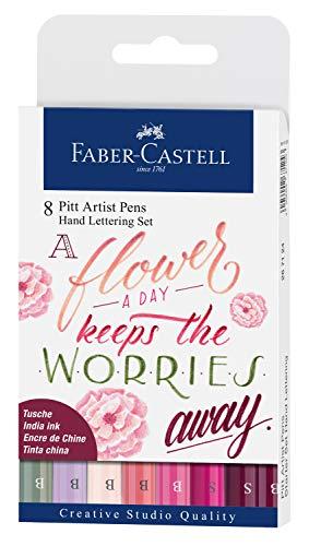 Faber-Castell 267124 - Penna a Inchiostro Pitt Artist Pen Lettering, Astuccio da 8 Pezzi, Colori Assortiti