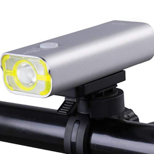 TYJH Fahrrad Licht-Mini Fahrrad Scheinwerfer Rücklicht-USB Schnellladung Akku Einfach Zu Installieren,Silver,2500Mah