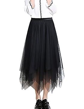 Saoye Fashion Faldas Mujer Verano Malla Falda Larga Cintura Alta Asimetricas Irregular Color Solido Hippies Moda...