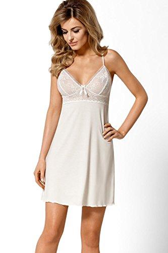 Nipplex Elise chemise de nuit classique élégante bretelles ajustables top qualité pi?ce du set- fabriqué en UE Ivoire
