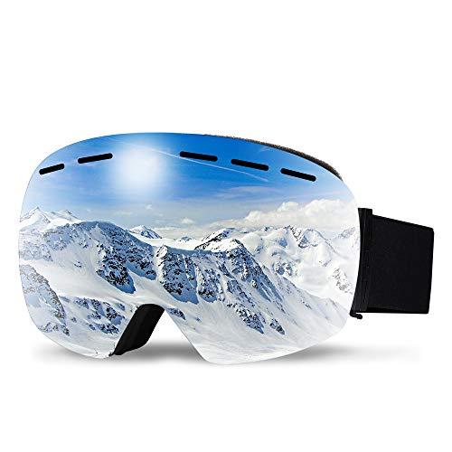 infinitoo Occhiali da Sci, Maschera da Sci Snowboard per Uomo, Donna e Gioventù Adulti  Grand Angolo Antivento Anti Fog UV 400 con Custodia Stealth-JetBlack
