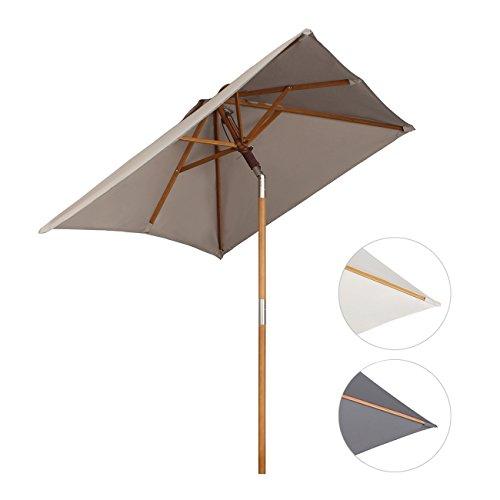 Sekey sombrilla parasol de madera para terraza jardín playa piscina patio...