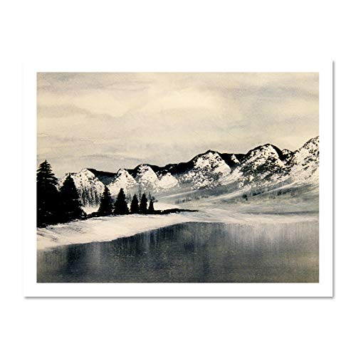 Wee Blue Coo LTD Frozen Lake Painting Winter Landscape Mountains Photo Art Large Framed Art Print Poster Wall Decor 18x24 inch