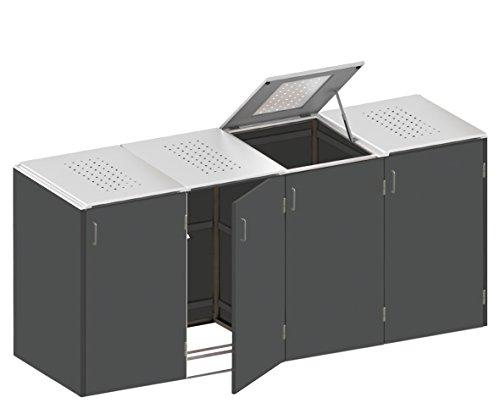 Mülltonnenbox Edelstahl-Klappdeckel Rot