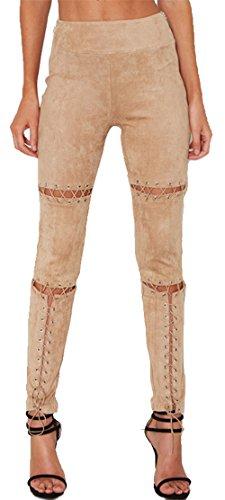 Alaix donna alto vita lace-up elastico scamosciato bendare matita slimfit pantaloni beige-s