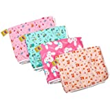 Fareto New Born Baby 4 Waterproof Nappy Changing/Sleeping Mat/Bed Protector/Sheets with Foam Cushion, 0-6 Months-24x18-inch (Multicolour)