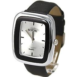 New Black Band Rechteckige PNP glänzende silberne Uhrgehäuse-Herren-Mode-Uhr
