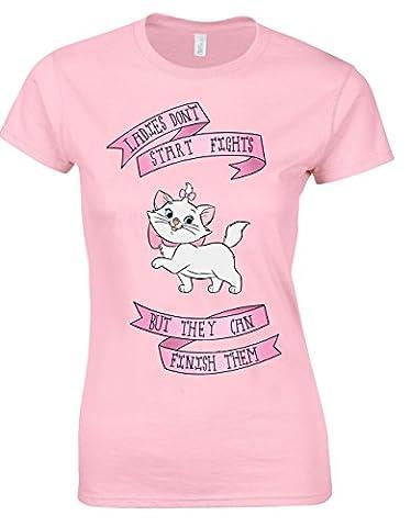 Damen Dont Start Fights aber können Sie den Sie Marie Aristocats Damen Schnitt Gr. Small, Soft-Pink