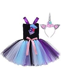 CHICTRY Robe Fille cérémonie déguisement Licorne Enfant Tutu Robe  +Serre-tête déguisement Princesse Fille Cosplay Halloween Carnaval… c7ad2173246
