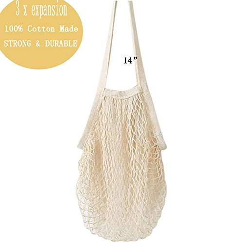 12APM 2 Pack Wiederverwendbare große 100% Cotton Storage Mesh Tote Bag für Strand Kinder Spielzeug Sammlung Lebensmittelgeschäft Badezimmer Wäsche (schwarz) (Beige)