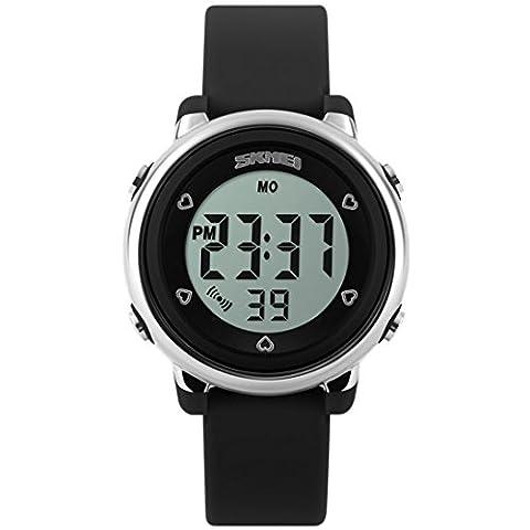 Montre digitale multi-fonction au poignet pour les enfant et les étudiants filles & garçons – Montre mignonne, à la mode avec l'écran LCD coloré - Montre de sport et résistante à l'eau – Réveil - Chronomètre - Bracelet en caoutchouc souple -