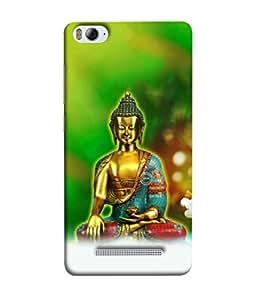 PrintVisa Designer Back Case Cover for Xiaomi Mi 4i :: Xiaomi Redmi Mi 4i (Golden Idol Of Lord Buddha In Green Background)