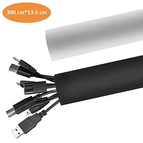 Neopren Klettverschluss Kabelschlauch Kabelkanal aus Neopren Flexibler und wiederverwendbarer mit Klettverschluss, bis zu 13.5cm, Länge 300cm, Schwarz und Weiss