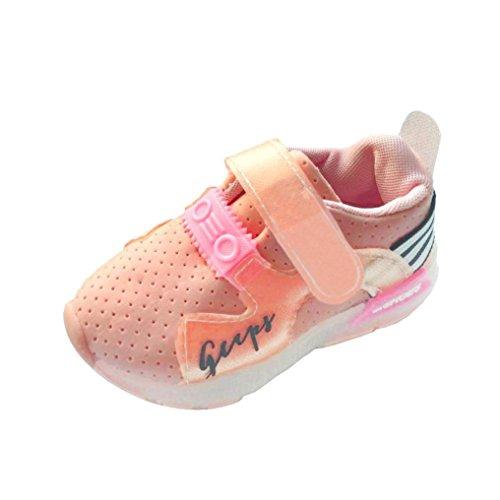FNKDOR Baby Kinderschuhe LED Mädchen Jungen, Licht Turnschuhe Leuchtend Blinkschuhe Sportschuhe, 1-6 Jahre (29/17,5CM, Rosa) (Blumen-mädchen-flügel)