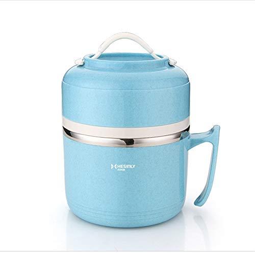 iHouse Edelstahl 2-lagig isoliert Lunchbox +304 Geschirr, groß leer auslaufsicher, Kinder, Erwachsenenfutterbehälter 1,2L, 16,5x11cm, blau -