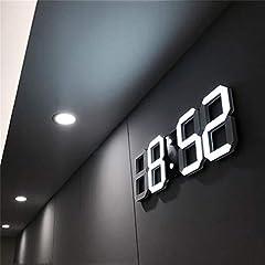Idea Regalo - Thathereblicht Orologio da Parete Digitale a LED, con 3 Livelli di luminosità, Sveglia Elettronica, da Parete, Stereo, da Parete, USB