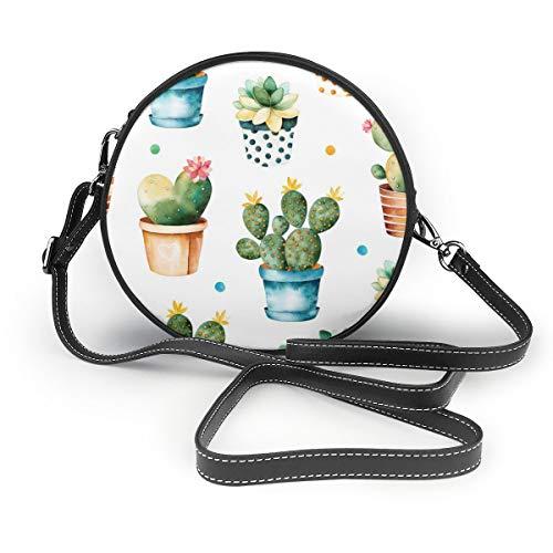 Wrution Love Shape Kaktus Topfmuster Personalisierte Runde Umhängetasche mit Reißverschluss weiches Leder Kreise Geldbörse für Damen -