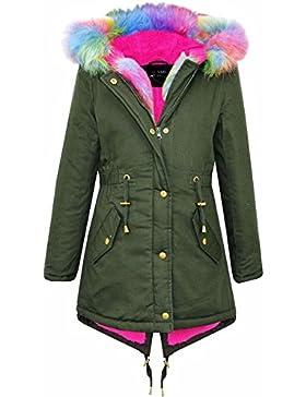 A2Z 4 Kids Kinder Jacke Mit Kapuze Mädchen Rainbow Pelz Parka Schule Jacken Outwearlinie Mantel New 122 128 134...