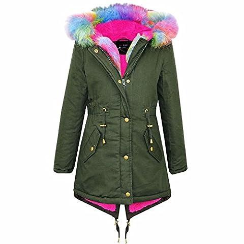 A2Z 4 Kids Kids Hooded Jacket Girls Rainbow Faux Fur Parka - Khaki - 11-12 Years