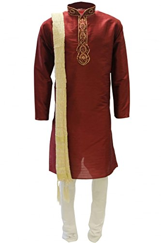 MKP3139 Rot und Goldmänner Kurta Pyjama Indian Suit Bollywood Sherwani Chest 38 inches (Indische Herrenbekleidung)