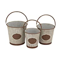 Benzara Victoria Unique Patterned Metal Pail, Set of 3